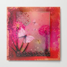 Wonderful butterflies with dragonfly Metal Print