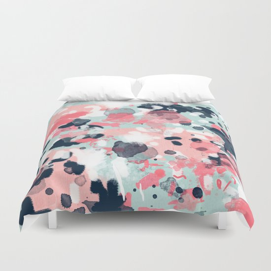 Isla Abstract Painting Navy Mint Coral Trendy Color