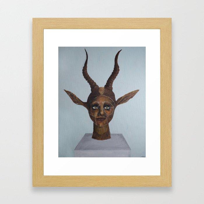 Horned Statue Framed Art Print