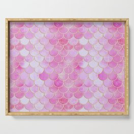 Pink Pearlescent Mermaid Scales Pattern Serving Tray