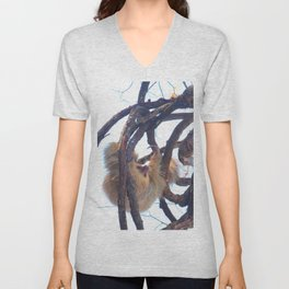 Two-toed sloth and orchids in Costa Rica Unisex V-Neck