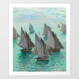 """Claude Monet """"Bateaux de pêche, temps calme"""" Art Print"""