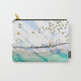 White Sand Teal Waters  // A Modern Artsy Style Graphic Photography of Beautiful Light Green Tropics Carry-All Pouch