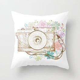 Camera retro flower Throw Pillow