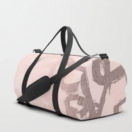 Rose Gold Pastel Pink Geometric Triangles Duffle Bag