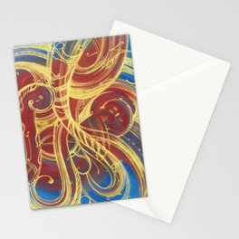 GOLDEN SWIRLING - CURLY GOLDEN LINES ON RED AND BLUE Stationery Cards