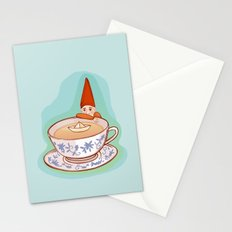 fairytale dwarf during teatime Stationery Cards