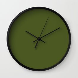 Colors of Autumn Maple Dark Green Solid Color Wall Clock