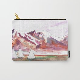Three Jewels Watercolor Painting of Three Tipis Carry-All Pouch