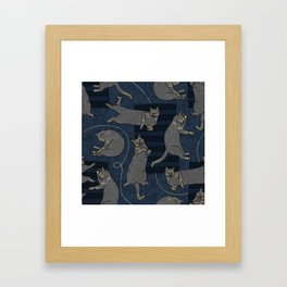 Lounging Cats On Terrazzo - Blue Framed Art Print