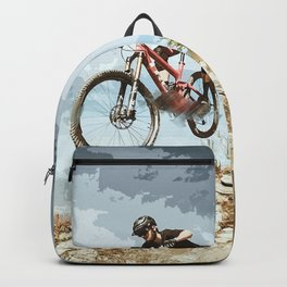 Flying Downhill on a Mountain Bike Backpack