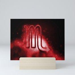 Scorpio zodiac sign, night sky,Horoscope Astrology background,Scorpio horoscope symbol, red horoscope Mini Art Print