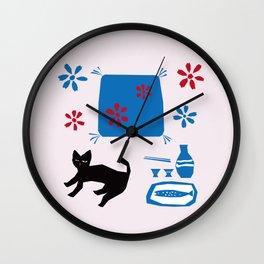 猫と座布団とお銚子とお猪口_桃 Wall Clock