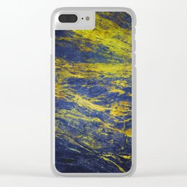 Classic Vintage Blue Faux Marble With Gold Veins Clear iPhone Case