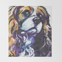 Blenheim Cavalier King Charles Spaniel Dog Portrait Pop Art painting by Lea Throw Blanket