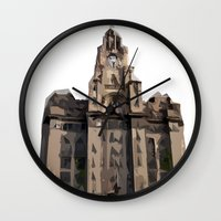 buildings Wall Clocks featuring Buildings by Wis Marvin