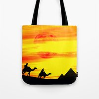 egyptian Tote Bags featuring Egyptian supermoon by Pirmin Nohr
