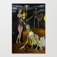 skeleton Canvas Prints featuring Skeleton by Egberto Fuentes