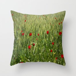 Red Poppies Growing In A Corn Field  Throw Pillow