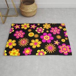 Seventies Look Floral Pattern on Black Rug
