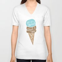 """onesie V-neck T-shirts featuring Ice cream cone baby onesie """"so sweet, that's me"""" by Spilling Beans"""