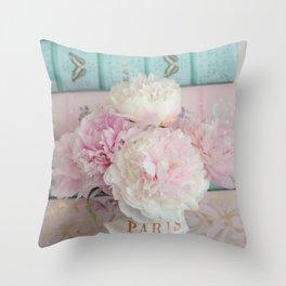 Romantic Peonies Aqua Pink Books Throw Pillow