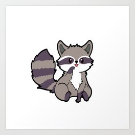 A Nice Cute Tee For Animal Lovers With A Cute Illustration Of A Raccoon T-shirt Design Bite Furry Art Print