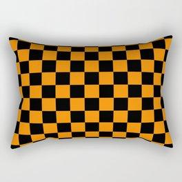 Orange and Black Checks Rectangular Pillow