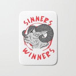Sinners are Winners I Goth Death Metal I Satanic Goat design Bath Mat
