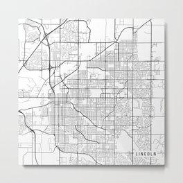 Lincoln Map, USA - Black and White Metal Print