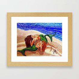 Mermaids Spent Lovers Beach Ocean Shells Sea Sand Waves Nude Women Red Head Passion Couple Framed Art Print