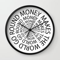 scarface Wall Clocks featuring Money World by Text Guy