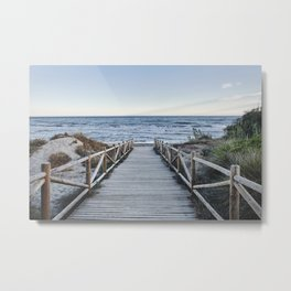 """Walking to the beach....."" At sunset Metal Print"