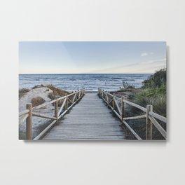 """Walking to the beach....."" At sunset Metal Print"