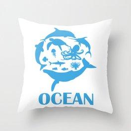 Sea Turtle Gift Print SAve The Ocean Ocean Life Print Throw Pillow
