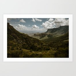 Cloudy Vibrant Mountaintop View in Big Bend - Lost Mine Trail Art Print