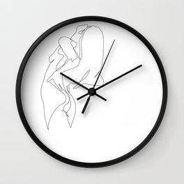 One line nude - e 5 Wall Clock