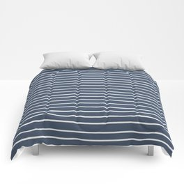 Colorful Stripes, Aqua, Dark Navy Blue and White, Abstract Art Comforters
