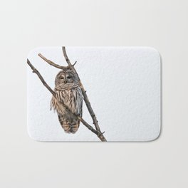 Barred Owl visitor on New Years Eve Bath Mat