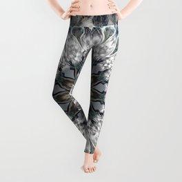 Gray, blue Mandala Leggings