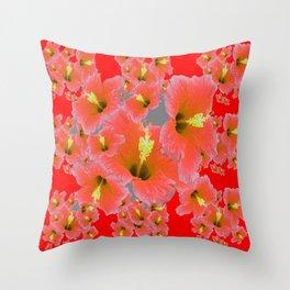 RED MODERN ART CORAL PINK HIBISCUS GARDEN ART Throw Pillow