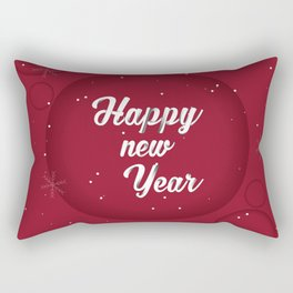 Happy holiday, Christmas sign with snow flake and christmas decoration on the red background Rectangular Pillow