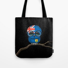 Baby Owl with Glasses and Turks and Caicos Flag Tote Bag