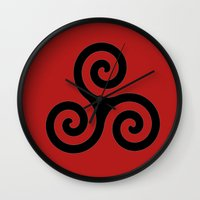 teen wolf Wall Clocks featuring Triskele by AlixInsanity