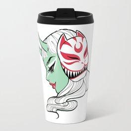 Kitsune Mask and Oni Girl (Japanese Demon) Travel Mug