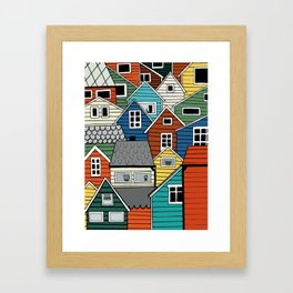 Colorful houses in Norway Framed Art Print