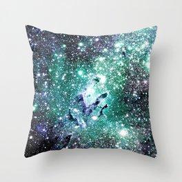 Eagle Nebula Blue Teal Green Throw Pillow