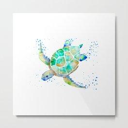 Turtle blue Metal Print