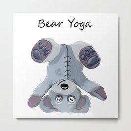 Bear Yoga Metal Print