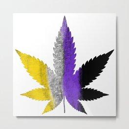 Enby Weed Leaf Metal Print